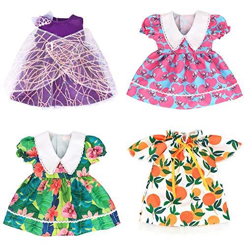 ZWOOS Puppenkleidung für New Born Baby Doll, Entzückendes Baumwollkleid für Puppen 36-43 cm, 4er-Pack