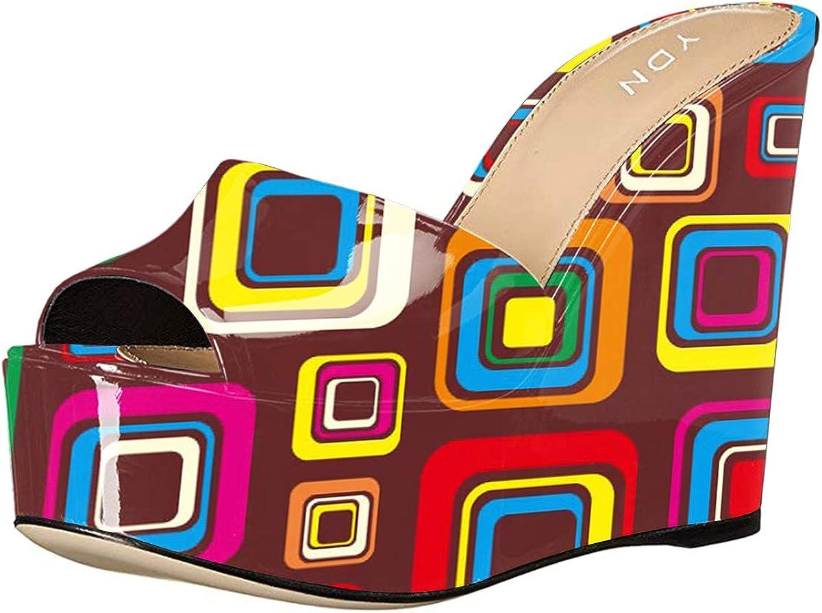 YDN Women High Heels Platform Mules Peep Toe Clogs Slip on Wedge Sandals Slide Backless Shoes 4-15 M US