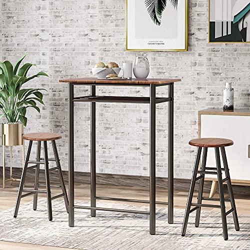 Set di 3 tavolini da tavolo e sedie in stile pub, set da pranzo con altezza e 2 sgabelli da bar