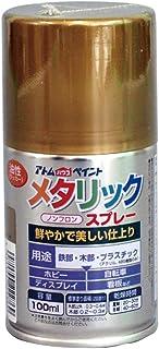アトムハウスペイント 油性メタリックスプレー 100ML ゴールド