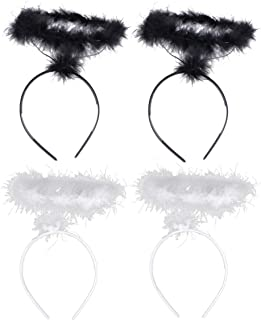 Amosfun 4pcs Angel Headbands White Black Angel Hair Band Decorative Angel Halo Hair Hoop Angel Dress Up Props Stage Costum...