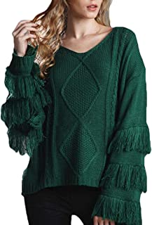 Womens Pullover Round Neck Jumper Sexy Long Sleeve Tassel Knitted Sweater
