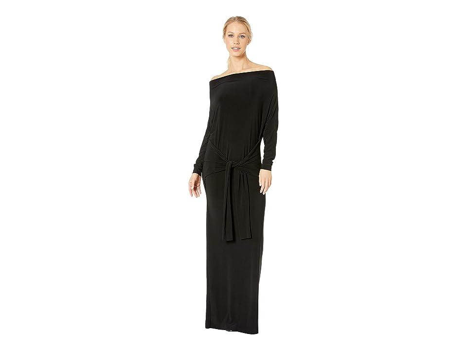 KAMALIKULTURE by Norma Kamali Four Sleeve Off Shoulder Long Dress (Black) Women