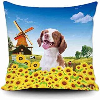BAGEYOU Happy Summer Farmhouse and a Lovely Dog Brittany Spaniel Throw Pillow Cover and Sunflowers Windmill Countryside Cow Decor Home Pillowcase 20x20 Inch