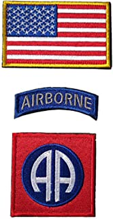 1 Set Tactical Morale Patch Colorful USA Flag/82nd Airborne Division Armband Military Morale Badges for Clothes Map Backpack Hat Jacket Jeans Uniform