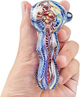TOSST 4 Inch Big Glasswre-Pipe Protable Thick and Durable Art Glass(Magic Red-Blue)