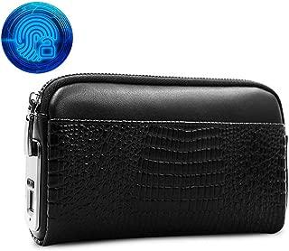 KEYBAO Women Genuine Leather Clutch Handbag with Zipper Pocket,Smart Keyless Fingerprint Recognition Long Wallet Clutch,Security Anti-Theft Cell Phone Handbags,Black