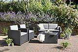 Allibert 220025 Lounge Set Monaco mit Kissenbox-Tisch 2x Sessel und 1x Sofa, Rattanoptik, Kunststoff, graphit - 7