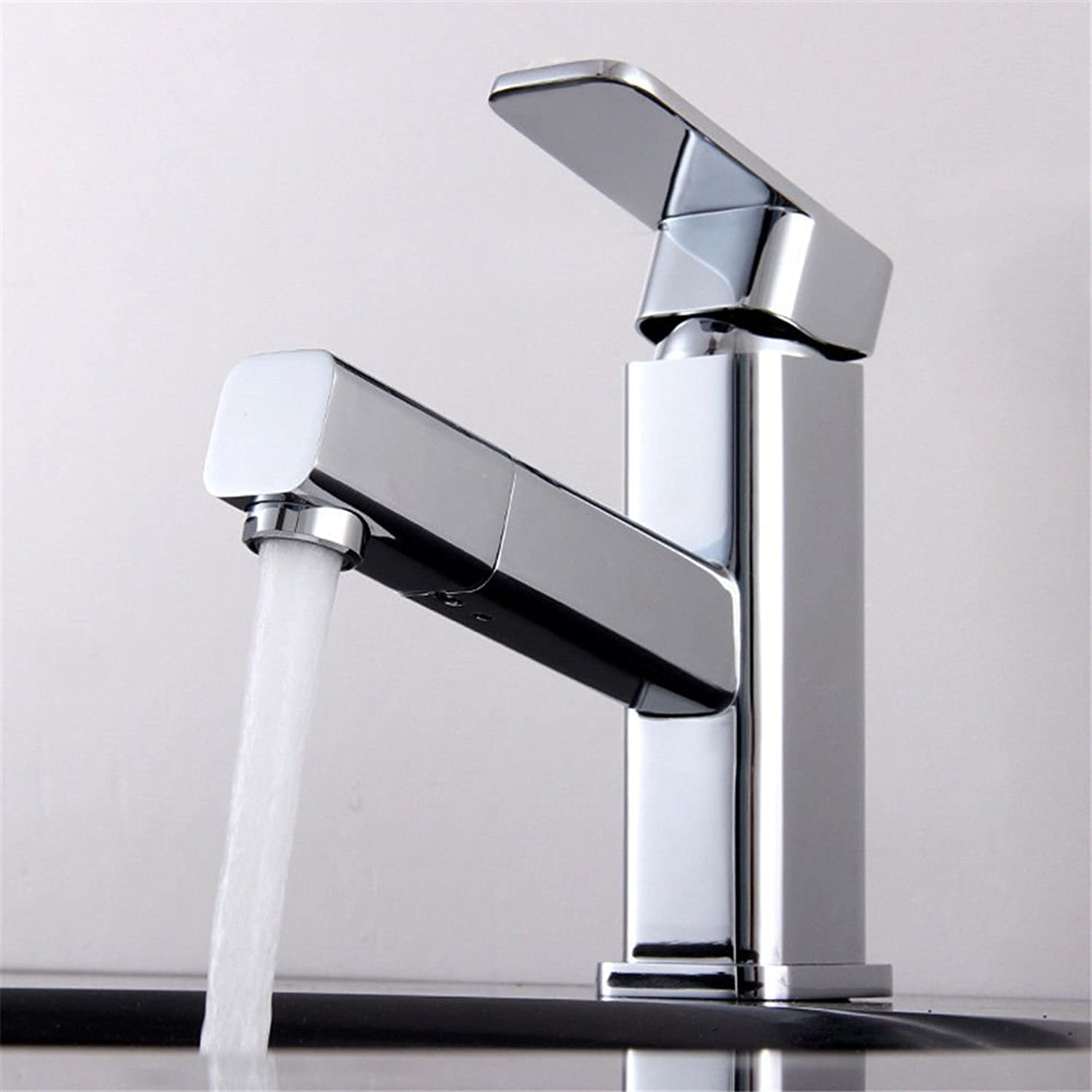 Lalaky Taps Faucet Kitchen Mixer Sink Waterfall Bathroom Mixer Basin Mixer Tap for Kitchen Bathroom and Washroom Copper Square Hot and Cold Water Pumping