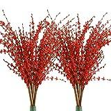 Famibay PE Fiori di Gelsomino Finti 20 Pezzi Rosso Steli Pianta Artificiali Bouquet Lunghi 29' per Vasi Alti Matrimoni Soggiorno Balcone Esterno Interno(Rosso)