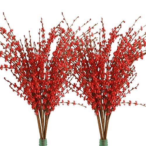 Famibay 20 Piezas Flores Artificiales Decoracion Jarrones Tallo Largo Roma de Flores Boda Flores de Interior Fiesta