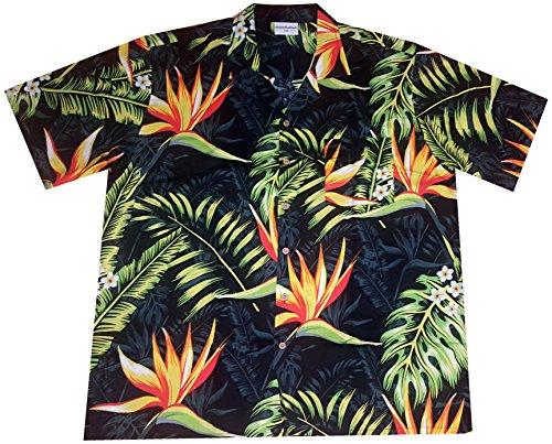 """Hawaiihemd/Hawaii Hemd """"Bird of Paradise"""" / 100% Baumwolle/Größe S – 6XL / schwarz/Blüten/Blumen"""