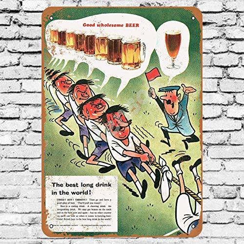 Henson 1956 Goede Groothandel Bier en Touw Trekken Traditionele vintage Tin Teken Logo 12 * 8 Advertising Eye-Catching Muurdecoratie