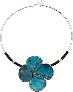 Green Patina Sculptural Flower Pendant Round Wire Collar Necklace