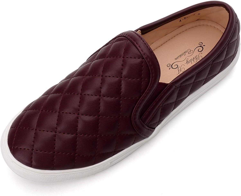 Ashley A WANDA10 Women Canvas Fierce Quilt Pattern Slip On Fashion Sneakers,