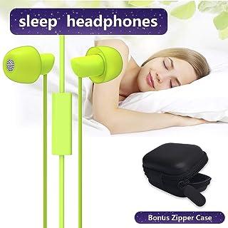 Ururtm Sleep Headphones, Stereo, Sound-Isolating Mini Comfy Sleep Earplug Earbuds with Microphone for Side Sleeper, White Noise,Work,Airplanes, Travel (Green)