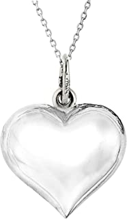 Sterling Silver Shiny Puffed Heart Polished Charm Pendant Necklace (18, 20, 24 Inches)