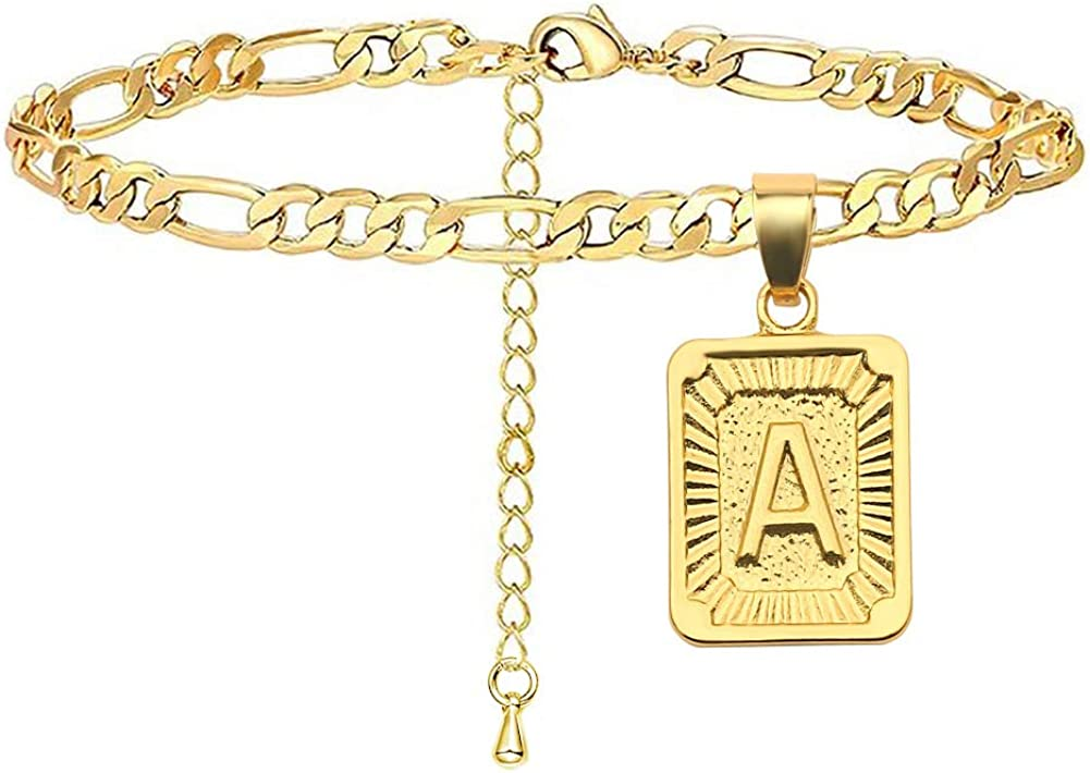 Novgarden 18K Gold Plated Initial Bracelets for Women, Personalized Engraved A-Z Letter Anklet Figaro Chain Jewelry Gift for Teen Girls