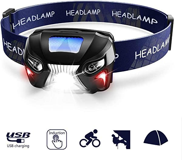 Rechargeable Sensor Headlamp Ultra Bright 600 Lumens White Cree LED Head Lamp Flashlight With Redlight And Motion Sensor Switch Great For Running Camping Hiking Waterproof Lightweight