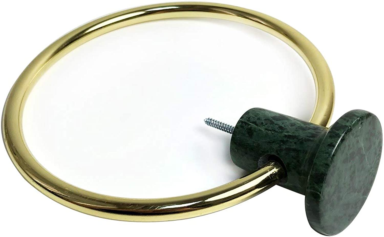 BonMarb Green Marble Towel Ring Hand Towel Ring Hanging Towel Hanger Bath Towel Ring Kitchen Towel Holder Scarf Holder
