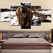 ZZHPlanet Canvas HD Prints Poster Home Wall Art 5 Piezas Animal Brown Bear Snow Paintings Abstract Pictures Living Room Decor Framework
