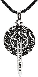 TTKP Nordic Vikings Celtic Amulet Legendary Viking Vanir Frey Sword With Runes Pendant Necklace Talisman Double Side