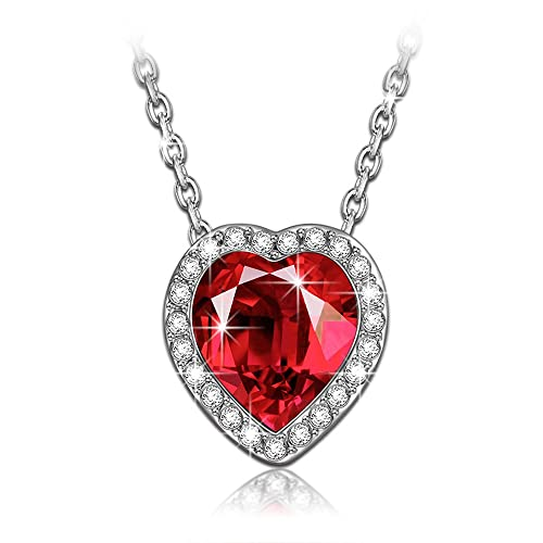 LADY COLOUR Ture Love Ruby Heart Pendant Necklace Swarovski Crystals Fashion Jewelry For Women Anniversary