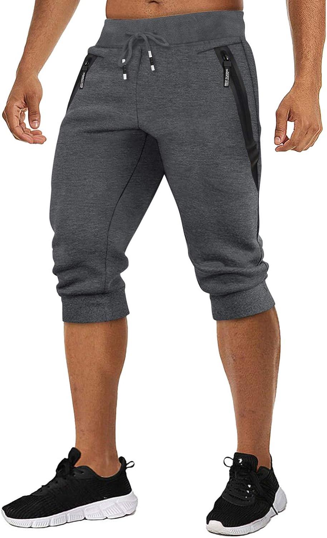 TACVASEN Men's Running Shorts 3/4 Jogger Pants Cotton Shorts Ela