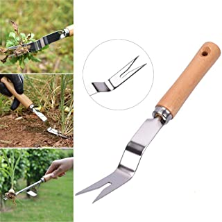 Yarnow 2pcs Hand Weeder Stainless Steel Manual Weed Puller Garden Hand Weeder Tool for Weeding Your Garden