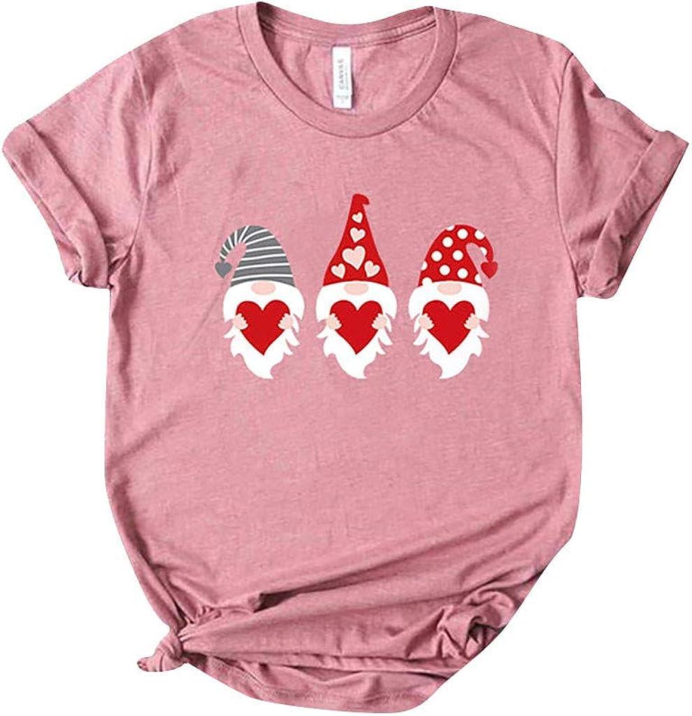 YOMXL Fashion Valentine's Regular store Day Cute O-Ne Sleeves Love Print 5% OFF Short