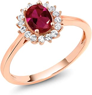 10K Rose Gold Red Created Ruby and White Created Sapphire Women's Ring (1.14 Cttw Oval Available in size 5, 6, 7, 8, 9)