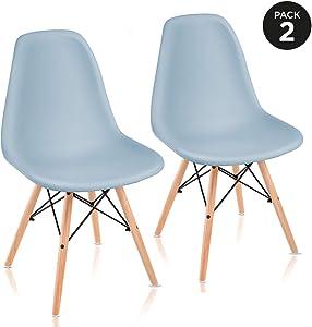 Mc Haus Pack di sedie da Pranzo in Stile Nordico 51x46x82 cm Blu Chiaro