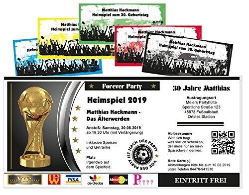 Unser-Festtag Fußballticket Heimspiel jedes Alter möglich - 30 40 50 60 kostenloser Eindruck Ihres Textes - 10 Karten
