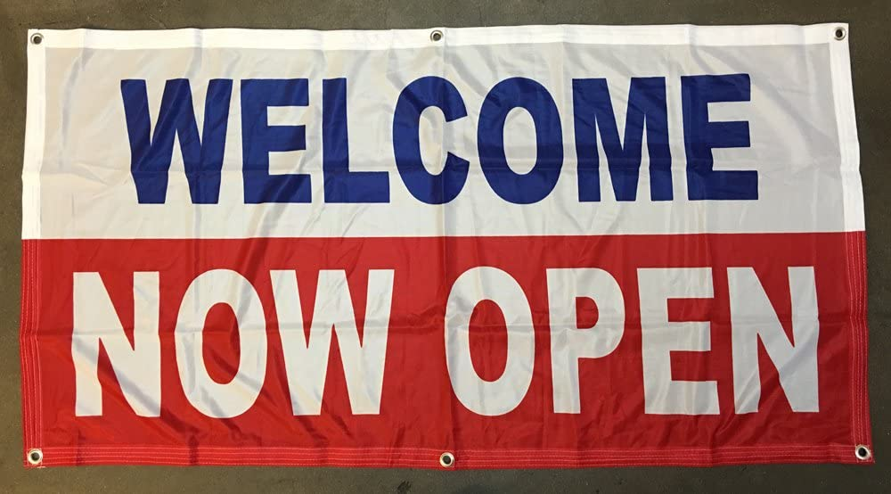 4Less 2x4 Ft Welcome Now Open Sign Vinyl trust Alternativ Low price Banner Store