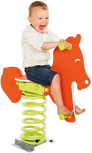 Federtier Pferd Orange für den  entlichen Bereich Spielpl e DIN EN1176 Schaukelpferd Wipppferd TüV geprüft
