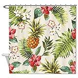 rioengnakg Schimmelresistent Stoff Tropical Watercolor Blumen & Ananas Duschvorhang Polyester Duschvorhang wasserdicht, Polyester, #1, 72