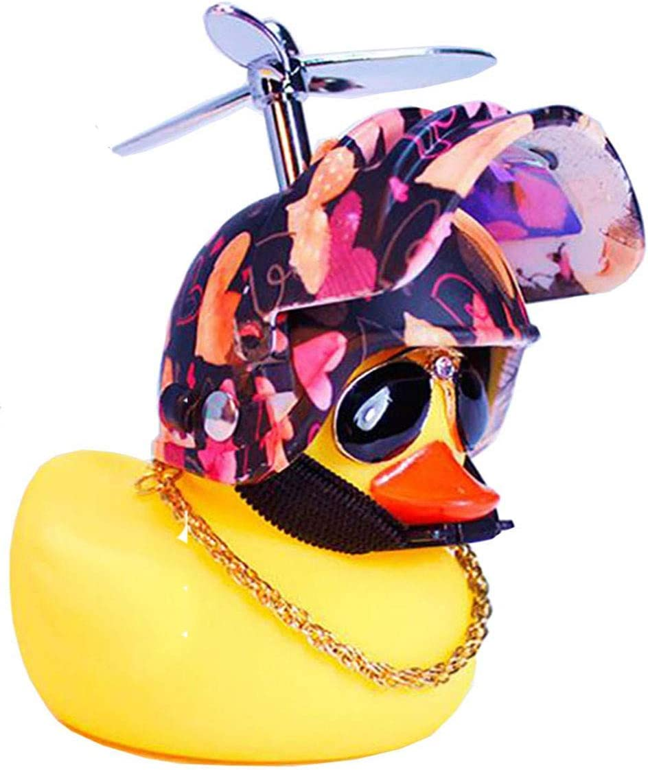 DYBADYSA 1 Pcs Cute Rubber Duck Toy Car Ornaments Yellow Duck Car Dashboard Decorations with Take-Copter Helmet for Adults Men Set(Style 8 ) Kids Women