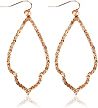 Sparkly Cubic Rhinestone Geometric Lightweight Open Hoop Earrings - Cut-Out Drop Dangles Scalloped, Moroccan Floral, Quatrefoil Clover, Kite
