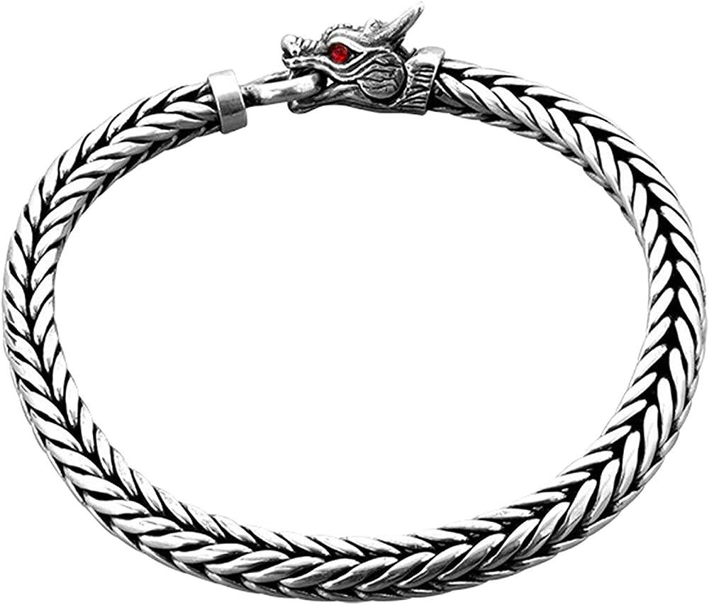 Kuzzoi, bracciale da uomo con chisura lavorata a forma di testa di drago, in argento sterling 925(42 gr) 232095-023