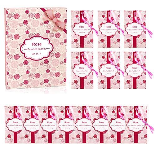 SCENTORINI Duftsäckchen Duftbeutel Rose Duft Sachets für Schubladen und Schränke, Duft aus naturreines ätherisches Roseöl 14 Pack