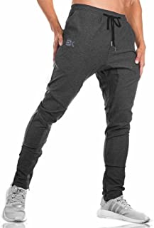 Mens Jogger Sport Pants, Casual Zipper Gym Workout Sweatpants Pockets