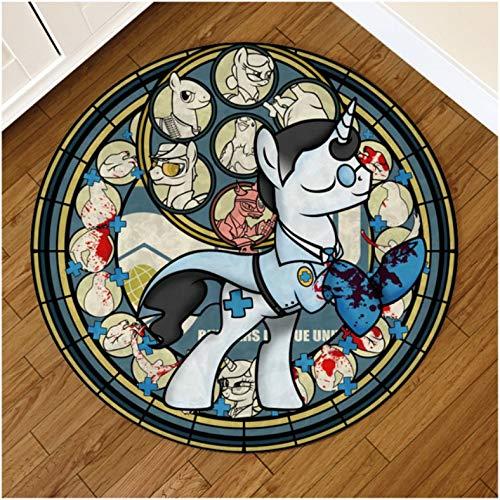 chengcheng Anime Kingdom Hearts Sonic Unicorn Horse Horse Mat Mat Alfombra Redonda Alfombra Redonda Alfombra para El Hogar Sala De Estar Alfombrilla Antideslizante 100Cm