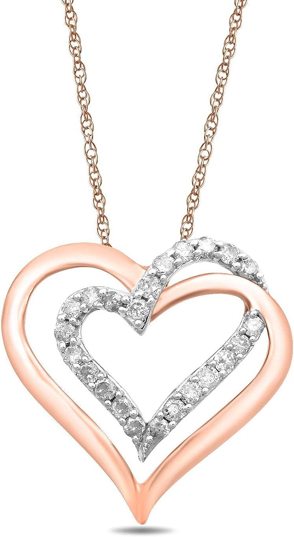 Jewelili 10k Gold Diamond Double Heart Pendant Necklace, 18