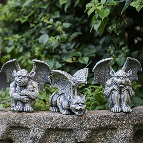 ZGYQGOO Miniatur-Wasserspeier-Statue, geflügelte Wasserspeierfigur des Wächters der Kathedrale, Wächter-Beschützer vor bösen Geistern, Unterwelt Dark Arts Fantasy Gothic Sculpture
