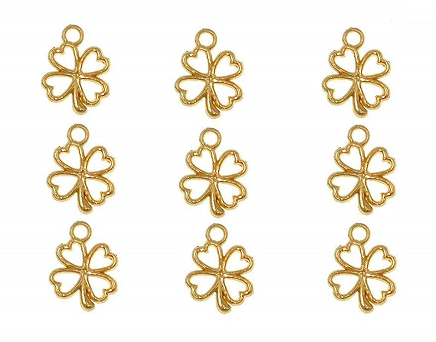 100pcs Four Leaf Clover Lucky Charms Pendents for DIY Bracelet Necklace Jewelry Making Findings(Golden)