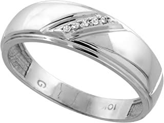 Silver City Jewelry 10k White Gold Mens Diamond Wedding Band Ring 0.03 cttw Brilliant Cut, 1/4 inch 7mm Wide