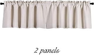 DONREN Cream Beige Curtain Valances for Kitchen - Room Darkening Rod Pocket Bedroom Valances (42 x 15 Inches Long,2 Panels)