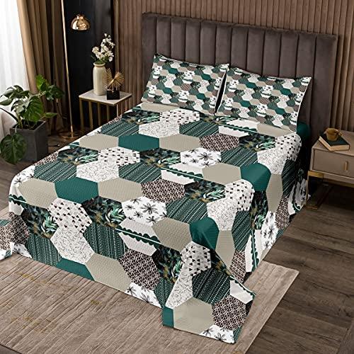 Juego de cama de nido de abeja tamaño King, colcha geométrica hexagonal para niños, adolescentes, niños, niñas, decoración del dormitorio, juego de colcha geométrica con 2 fundas de almohada, verde