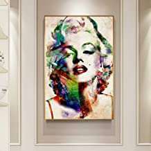 XuFan Modern Movie Star Big Poster Print Abstract Creative Colorful Marilyn Monroe Canvas Painting Living Room Wall Art Tableau Salon sin Marco 50x70cm