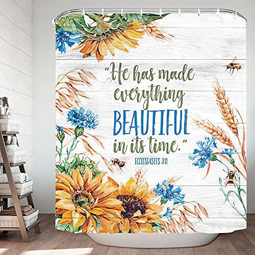 Fall Shower Curtain with Bible Verse Bath Curtains, Fall Autumn Thanksgiving Shower Curtain Wooden, Teal Yellow Floral Christian Scripture Quote Bathroom Accessories with Hooks 72X72in